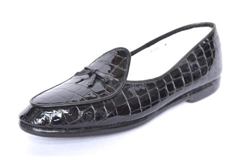 belgian slippers belgian shoes womens black croco patent slip on loafer