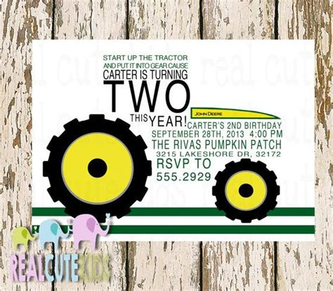 printable john deere birthday cards printable birthday invitation diy printable file john