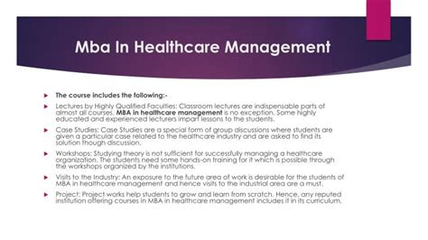 Qualificaions Of Mba Hospital Management by Ppt Mba In Healthcare Management For Career Powerpoint