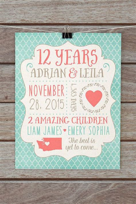 any year anniversary gift customized wedding anniversary gift for husband or 12th