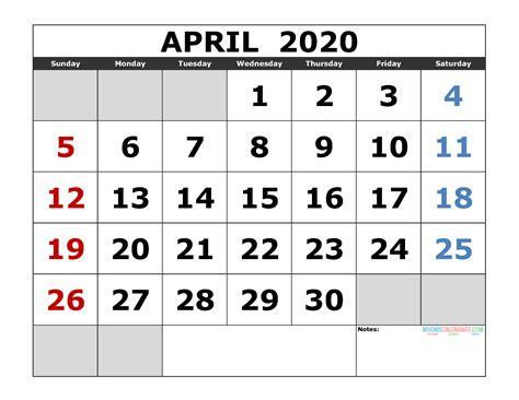 april  printable calendar template excel  image
