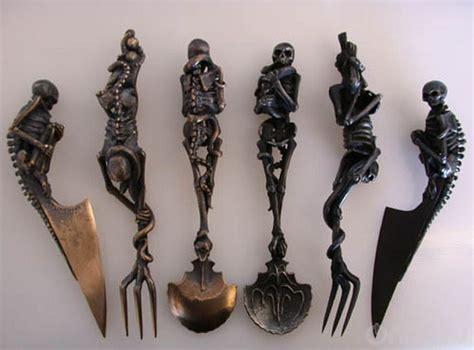 Gotik Set knife fork spoon skeleton kitchen