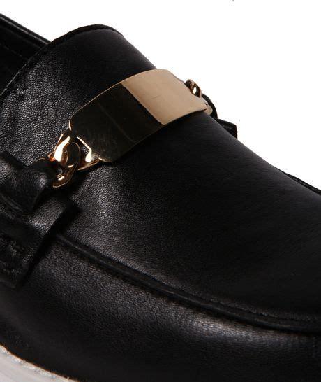 Steve Madden J by Steve Madden J Fresh Platform Loafer In Black Black Gold Lyst