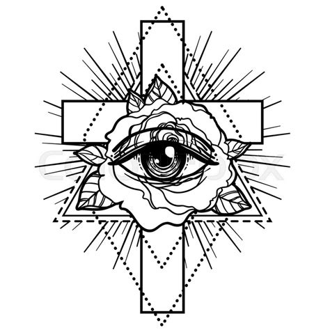 sacred geometry symbol all seeing eye stock vector rosicrucianism symbol blackwork flash all seeing eye cristian cross with flower