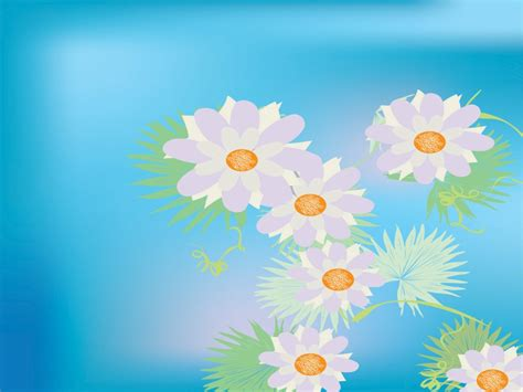 Aqua Flowers Powerpoint Templates Aqua Cyan Flowers Colorful Floral Powerpoint Templates Flowers Orange