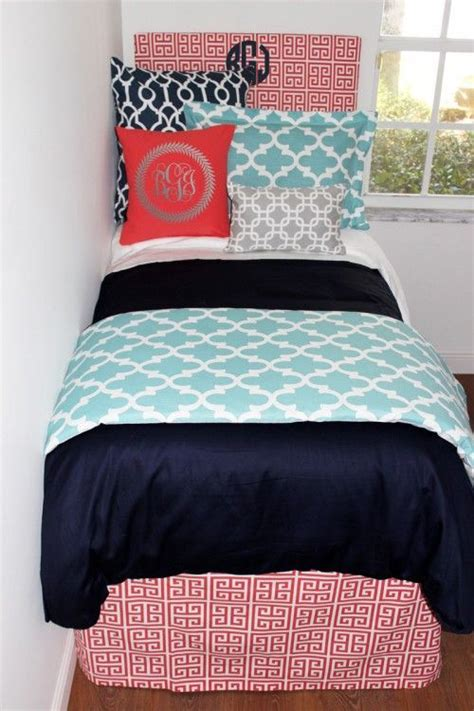 coral and navy bedding navy coral aqua grey designer teen girl dorm room