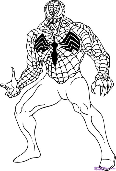 spiderman head coloring page how to draw venom step by step marvel characters draw