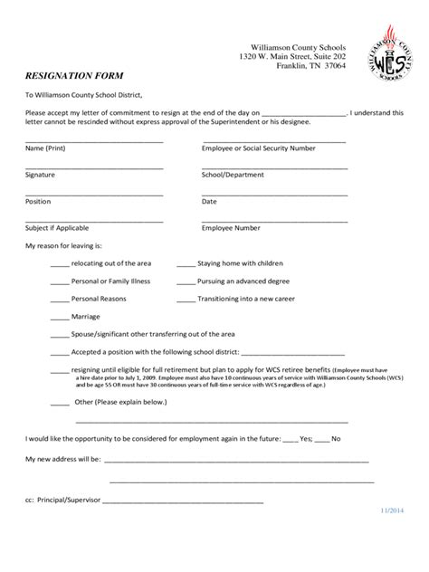 Resignation Form Sle Employee Resignation Form Letter Of Employment Acceptance