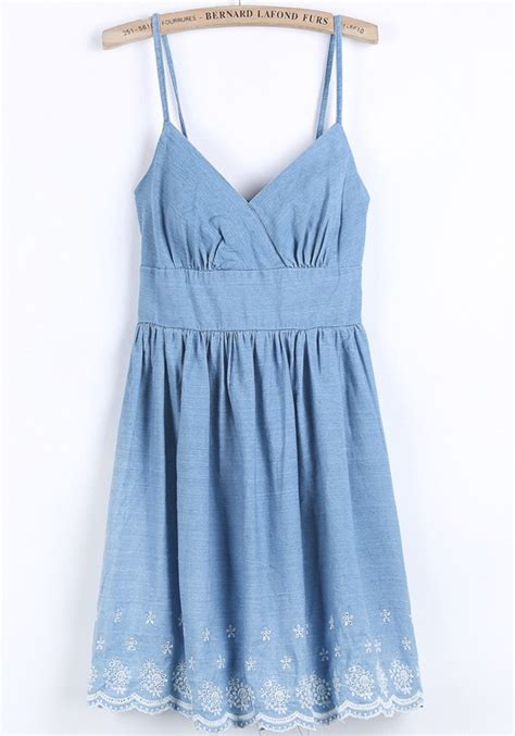 Shoulder Denim Dress Light Blue Blue light blue floral embroidery shoulder denim dress