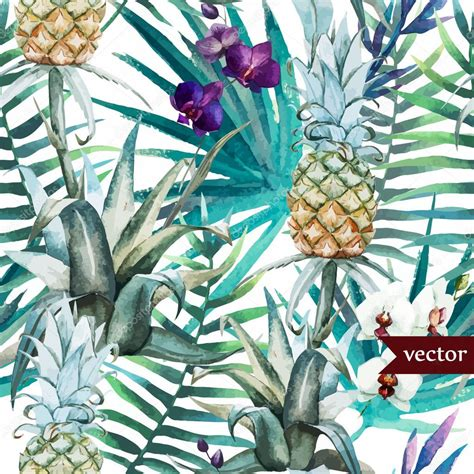 watercolor tropical pattern watercolor tropical pattern stock vector 169 zeninaasya