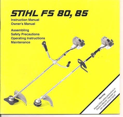stihl eater diagram stihl fs80 fs85 owners assembly maintenance