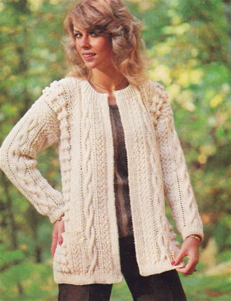 free knitting patterns for aran cardigans aran style jacket knitting pattern lovely vintage