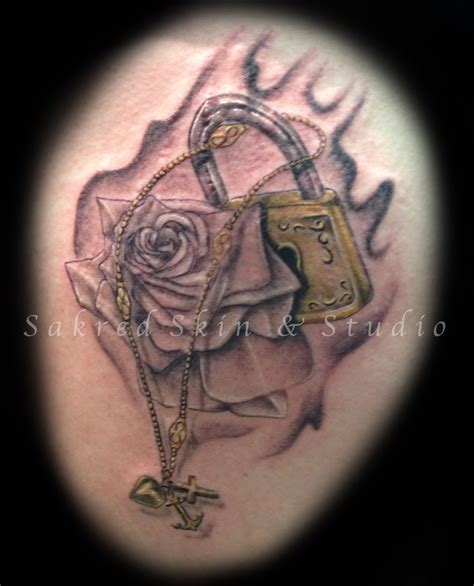 rose tribute tattoos custom lock memorial tattoos