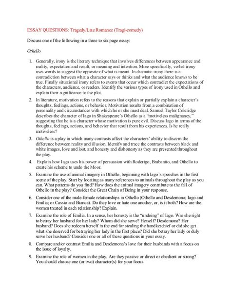 Essay Questions On Othello by Othello Essay Questions Act 1 Educationcoursework X Fc2
