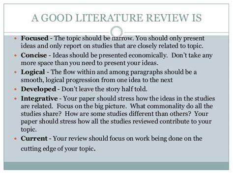 Literature Review Topics List by Literature Review On The Topic