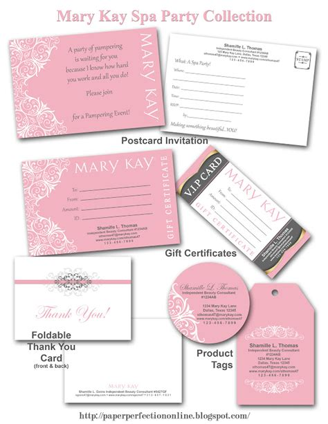 paper perfection mary kay spa party printables