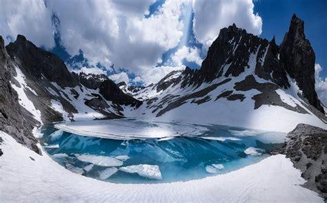 nature landscape mountain france alps lake snow