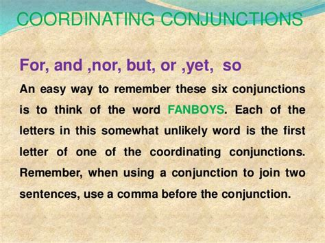 exle of conjunction 2 coordinating conjunctions