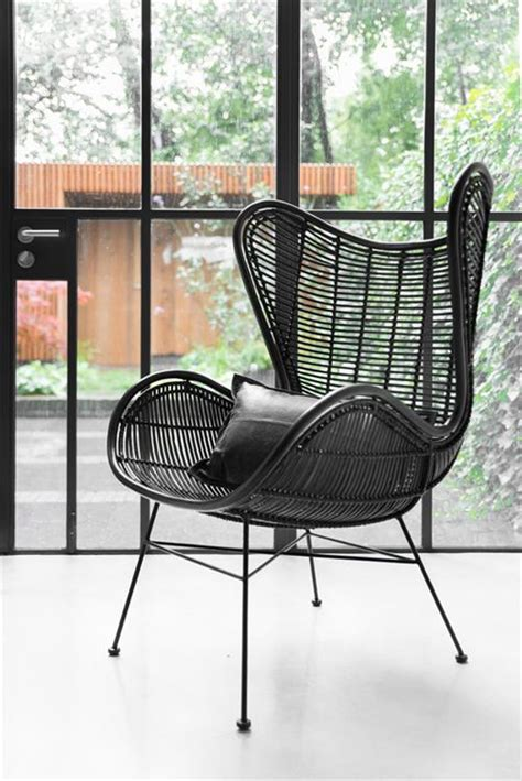 stuhl xenos rotan hoge lounge stoel zwart living roots