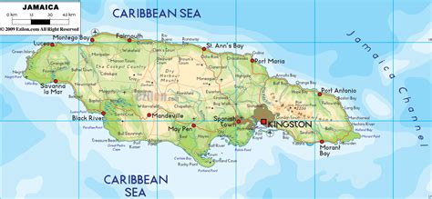 physical map of jamaica physical map of jamaica ezilon maps