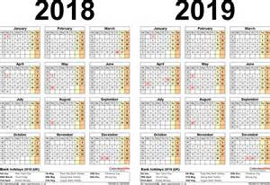 Two Year Calendar Template by Two Year Calendars For 2018 2019 Uk For Pdf