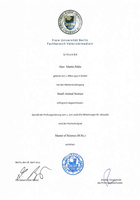 Fu Berlin Bewerbung Ohne Zeugnis Master Of Small Animal Science