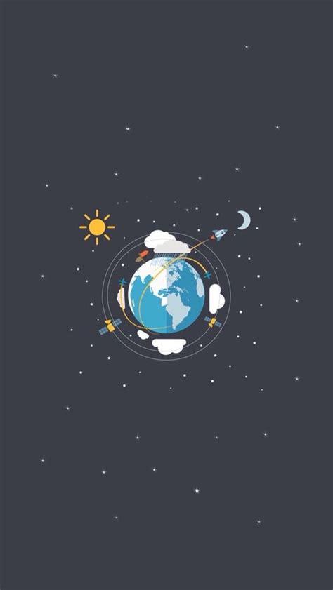 earth satellites sun moon illustration iphone  wallpaper