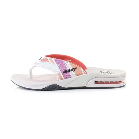 reef fanning flip flops womens womens reef fanning pink and coral lines toe post flip