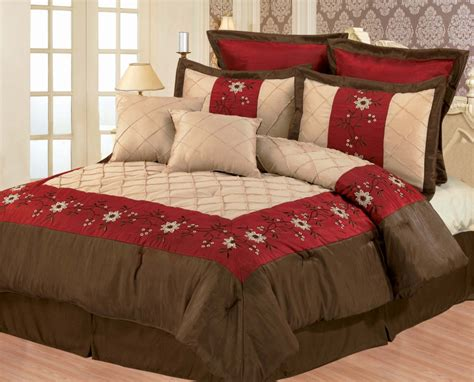 burgundy comforter queen 8 piece burgundy and coffee floral comforter set queen ebay