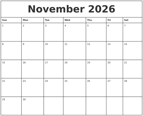 printable monthly calendar november november 2026 printable monthly calendar