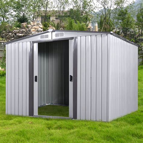 diy backyard metal garden shed storage kit building doors