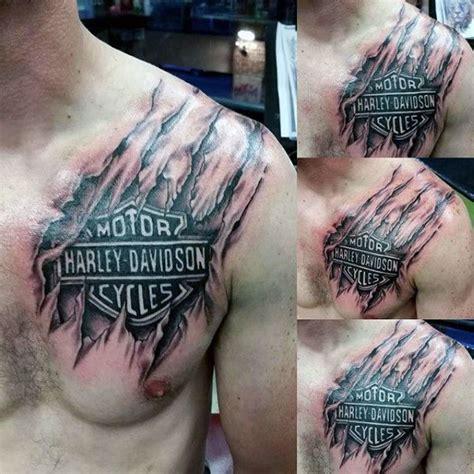 harley davidson tattoos for men mens torn ripped skin harley davidson logo chest