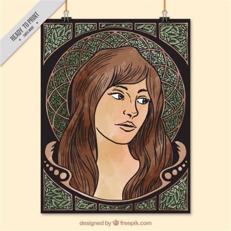 imagenes mujeres art deco hand gezeichnet frau dekoratives plakat im jugendstil