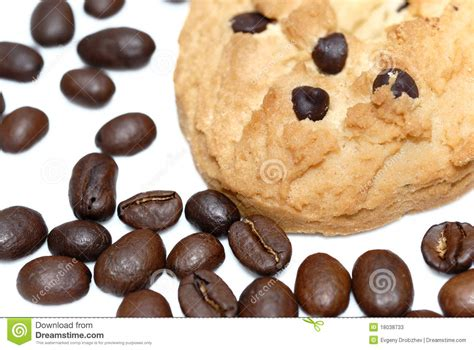 Cookies Coffee Bean closeup cookie and coffee beans isolated stock photos