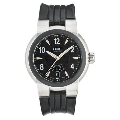 date rubber st oris day date ref 7518 wristwatch steel and rubber st