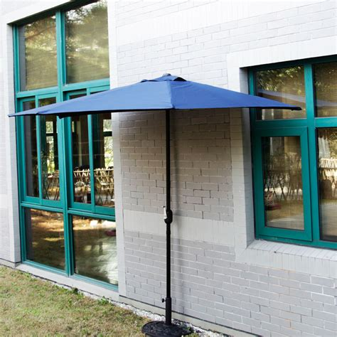 Corner Patio Umbrella 10 Ft Half Outdoor Patio Umbrella Wall Corner Yard Crank Umbrella 5 Ribs Ebay