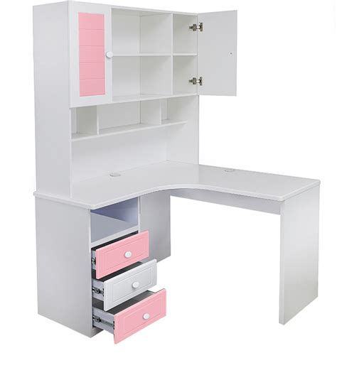 study table collection corner study table in pink finish by