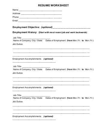worksheets fill in the blank resume worksheet