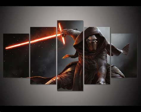 amazing Large Living Room Wall Decor #5: 5-panel-HD-printed-oil-painting-kylo-ren-in-Star-Wars-Movie-canvas-print-art-home.jpg