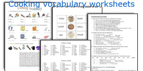 Cooking Vocabulary Worksheet by Teaching Worksheets Cooking Vocabulary