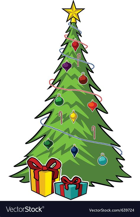 cartoon christmas tree december tree royalty free vector image