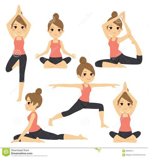 imagenes yoga animadas yoga various poses woman stock vector image of girl