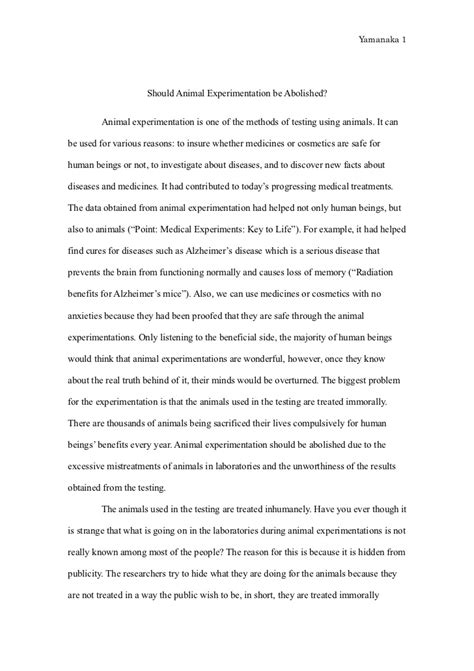 Animal Testing Speech Essays by Animal Experimentation Essay