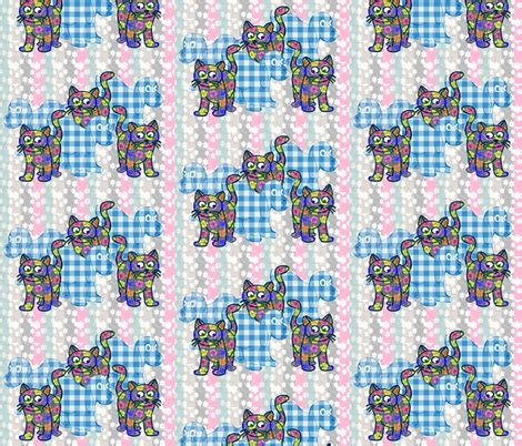 the gingham and the calico cat the gingham and the calico cat fabric dogdaze spoonflower