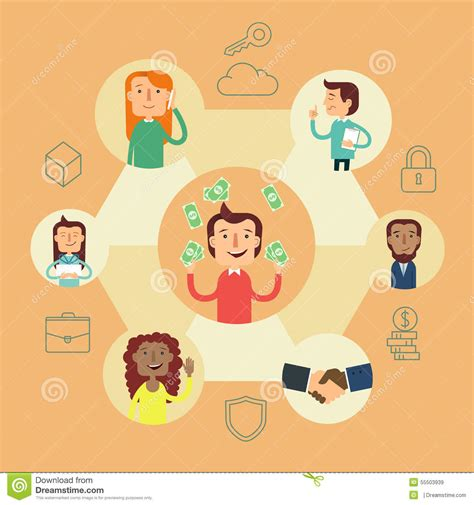 visual communication design illustration business social network vector concept stock vector