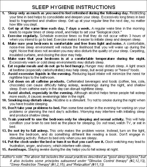 Sleep Hygiene Worksheet by Cbt Treatment Guidelines For Insomnia Nicky Abdinor