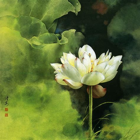 painting lotus wallpaper free