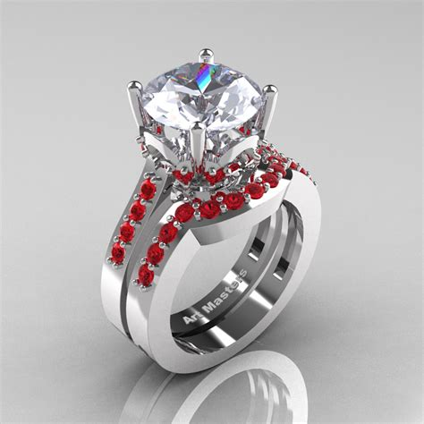 Wedding Ring Ruby by Classic 14k White Gold 3 0 Ct White Sapphire Ruby