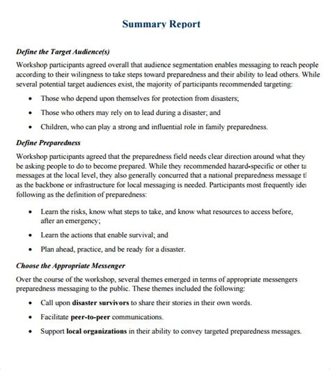 layout of a summary report sle summary report 7 documents in pdf