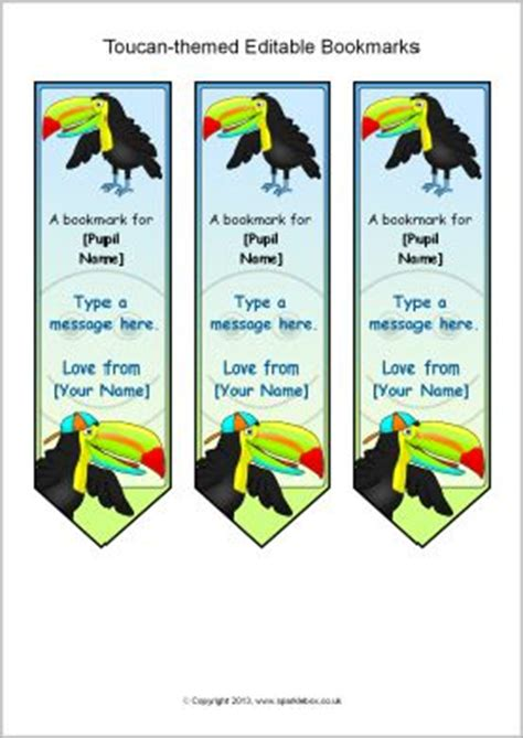 printable bookmarks sparklebox toucan themed editable bookmarks sb9718 sparklebox